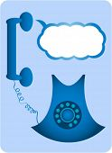 Un teléfono de tono de marcación analógica retro azul con burbuja de chat. Agregar su propio mensaje.