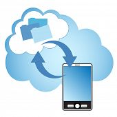 Concepto de Cloud computing. Smartphone sincronizar datos con la