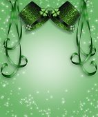 stock photo of st patty  - 3D Green hats and ribbons background or border for St Patrick - JPG