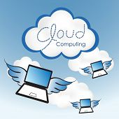 Cloud computing concept. Laptop computers with wings flying toward the