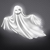 Vector Illustration Of White Ghost, Smiling Phantom Silhouette Isolated On Transparent Background. H poster