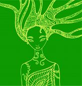 Fantasy Silhouette Woman Fairy. Isolated Pattern Green Color. Wood Nature Spirit . Decorative Fantas poster