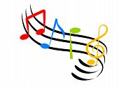 stock photo of music note  - An illustration of colorful music notes made with line art - JPG