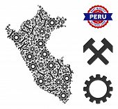 Repair Service Peru Map Mosaic Of Service Tools. Abstract Territorial Plan In Grey Color And Best Qu poster