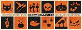 Happy Halloween Web Banner ,halloween Vector Symbol Object Collection. Vector Halloween Illustration poster