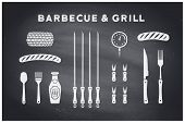 Barbecue, Grill Set. Poster Bbq Diagram And Scheme - Barbecue Grill Tools. Set Of Bbq Stuff, Tools F poster