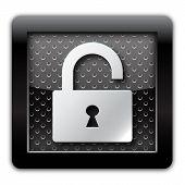 Security unlock metallic icon