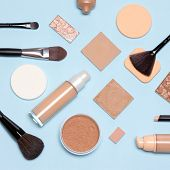 Basic Makeup Products Flatlay. Concealer, Primer, Liquid Fluid And Cream Foundation With Correcting, poster