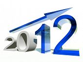 High resolution conceptual 2012 year as a graphic with a blue arrow isolated on white background