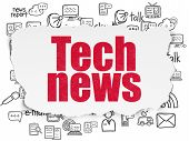 News Concept: Painted Red Text Tech News On Torn Paper Background With  Hand Drawn News Icons poster
