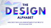 Stylish Modern Abstract Font And Alphabet With Numbers. Vector Colorful Font From Pieces Of Shapes A poster