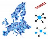 Web European Union Map Composition. Abstract Territory Scheme Of Links In Blue Color Tinges. Vector  poster