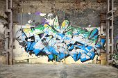 Street Art. Abstract Background Image Of A Full Completed Graffiti Painting In Chrome And Blue Tones poster