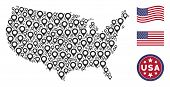 Map Marker Icons Are Grouped Into American Map Stylization. Vector Composition Of America Geographic poster