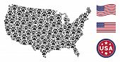 Paw Footprint Items Are Organized Into American Map Collage. Vector Composition Of American Territor poster