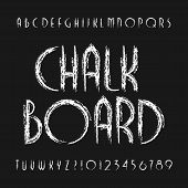 Chalk Board Alphabet Font. Hand Drawn Scratched Letters And Numbers. Stock Vector Typeset. poster