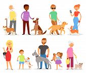 Dog-breeding Vector People With Pet And Woman Or Man Dog-breeder With Dog Or Puppy Illustration Dogg poster