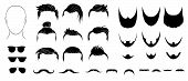 Set  Mens Hairstyles, Beards , Mustaches And Glasses.   Bearded Men With Different Beard, Mustache,  poster