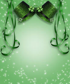 foto of st patty  - 3D Green hats and ribbons background or border for St Patrick - JPG