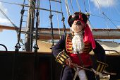 stock photo of pirate sword  - Proud old pirate in colorful traditional costume stands on board ship and draws his sword - JPG