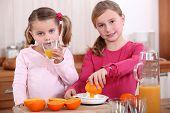 Girls squeezing oranges