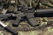 picture of m4  - modern weapon M4 and knife   - JPG