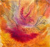 Abstract bright textile in batik's technique