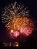 Large Showing Of Fireworks In Front Of A Crowd