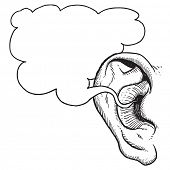 stock photo of human ear  - Human ear with speech bubble - JPG