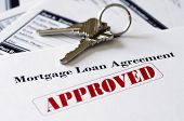 image of borrower  - Real Estate Mortgage Approved Loan Document With House Keys - JPG