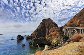 A great viaduct. Seaside road on the Pacific coast. California, USA