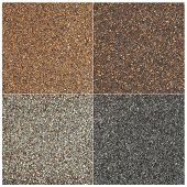 texture of four high impact asphalt roof shingles in different tones of brown and gray color