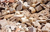 Rubble and debris of brick walls