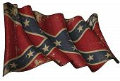 stock photo of rebel  - Illustration of a Waving Aged Confederate Rebel Battle flag - JPG