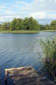 lake with a marina