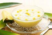 Pineapple puree dessert with yogurt