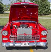 Red & White 1957 Chevy Bel Air Engine
