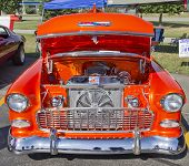 Orange 1957 Chevy Bel Air Engine
