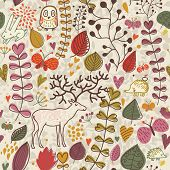 Vintage forest seamless pattern with flowers, deer, owl and hedgehog