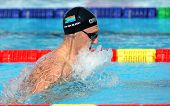 BARCELONA - JUNE, 3: South African swimmer Cameron van der Burgh swimming breakstroke during the Mar
