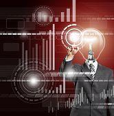 Постер, плакат: Лампа головы деловой человек нажимаем кнопку на виртуальной сенсорной панели
