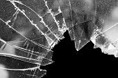 foto of abandoned house  - Accident cracked damaged broken house window glass - JPG