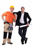 image of friendship belt  - Engineer and construction worker standing side by side - JPG
