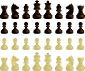 foto of chess pieces  - king queen bishops rooks knights and pawns complete set - JPG