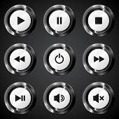 Black metallic vector power buttons set