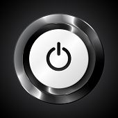 Black metallic vector power button