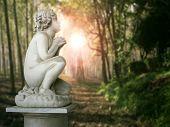 stock photo of cherub  - Beautiful Cherub statue profile in a wood - JPG