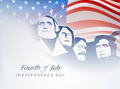 Fourth of July American Independence Day background with citizen faces on waving flag.