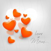 Happy Mothers Day concept with hearts on grey background with text Love You Mom.