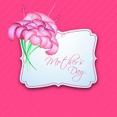 Happy Mothers Day greeting card or gift card with flower on pink background.